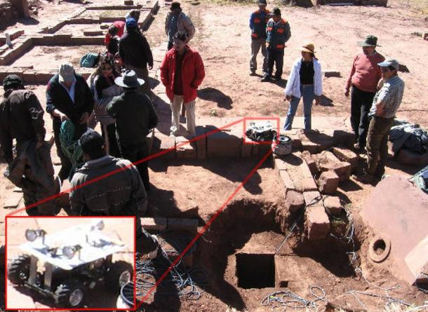 Previous excavations: Robotic exploration of a tunnel in the Akapana pyramid, June 13, 2006.