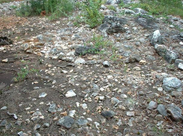 The 'head' of Rock Hawk Effigy Mound in Putnam Co, Georgia, USA