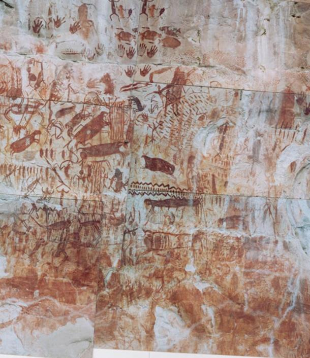 Rock art from another part of Chiribiquete shows animals, hand prints and anthropomorphic figures.