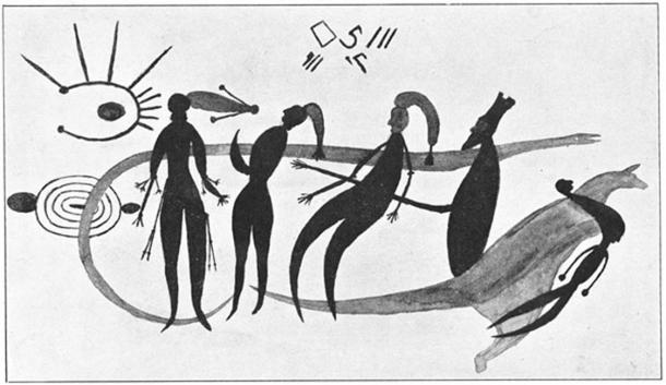 Rock art from the Bradshaw Collection of Western Australia, featuring human figures that are visible next to a kangaroo-like creature or with celestial objects, or with beyond-the-fold manifestations above them. (Public Domain)