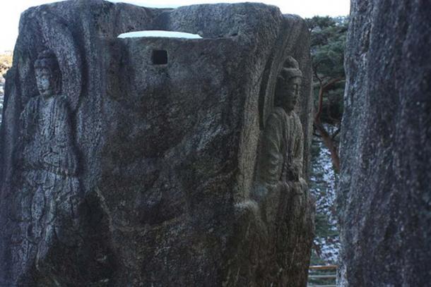 Rock-carved Buddhas at Chilbulam hermitage, Namsan Mountain in Gyeongju, Korea.