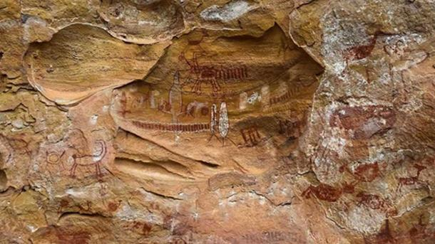 Rock paintings at Pedra Furada, Brazil.