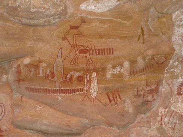 Rock paintings at Pedra Furada, Parque Nacional da Serra da Capivara, Brazil.