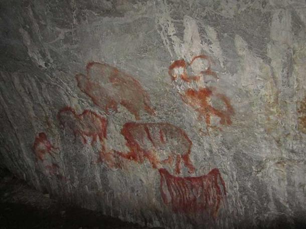 Rock paintings in Kapova cave.