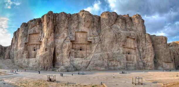 Rock reliefs at the spectacular Naqsh-e-Rustam commemorate Shapur's military victories