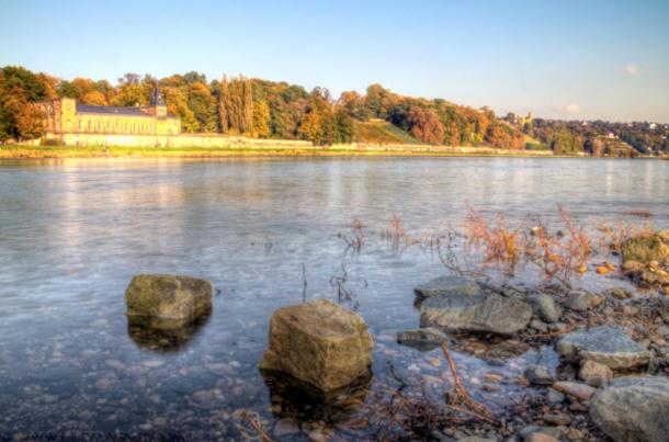 Rocks exposed by the low water levels of the River Elbe