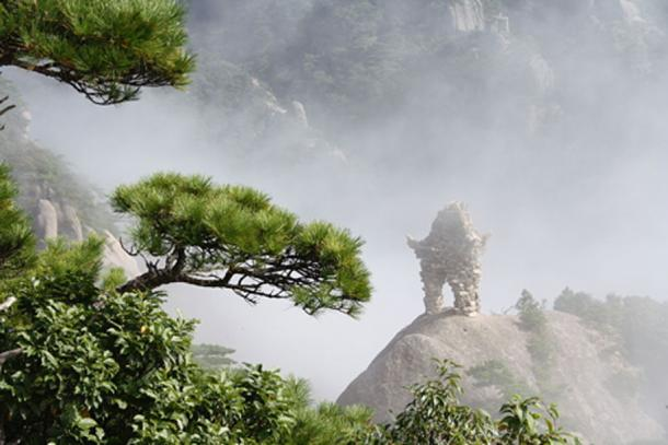 Rocky Gate and trees in Huangshan mountains, Anhui, China.