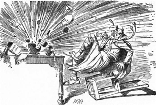 Roger Bacon Discovers Gunpowder, from Bill Nye's Comic History of England. (Public Domain)