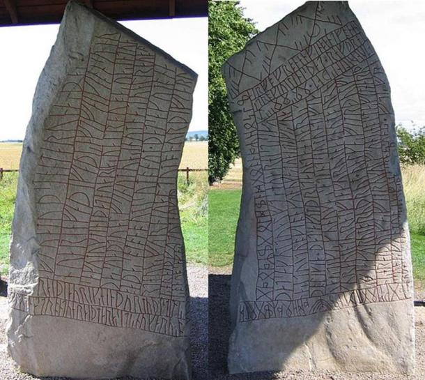The Front and Back of the Rök runestone.