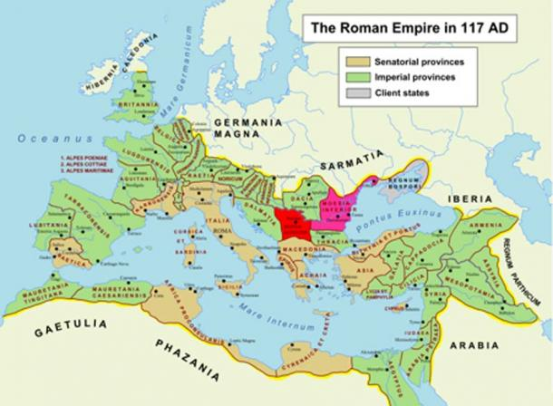 Roman Empire in 117 AD. The two Roman provinces, Moesia Superior and Moesia Inferior, are highlighted in red and pink, respectively. (Public Domain)