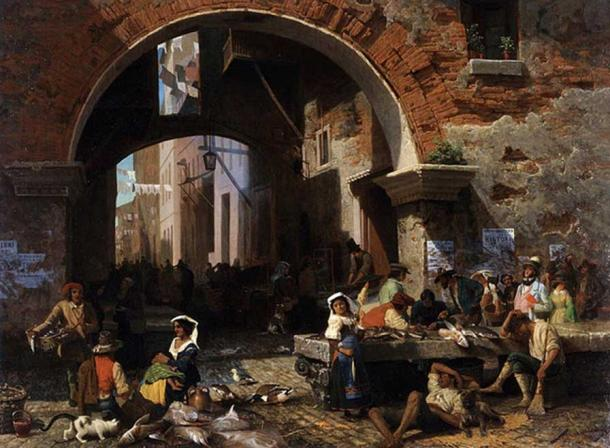 Roman Fish Market. Arch of Octavius. (Public Domain) The Acta Diurna was posted in public places around the city.