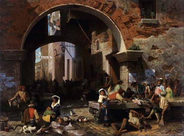 'Roman Fish Market. Arch of Octavius' (1858) by Albert Bierstadt. (Public Domain)