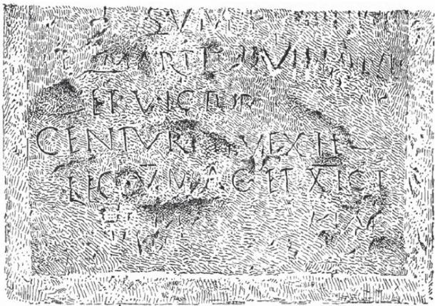 Drawing of a Roman Inscription found near Battir mentioning the 5th and 11th Roman Legions.