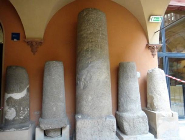 Roman Milestones in the Bologna Archaeological Museum.