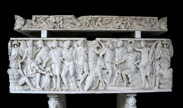Front panel of a Roman Sarcophagus whose relief represents the submission of the Sarmatians