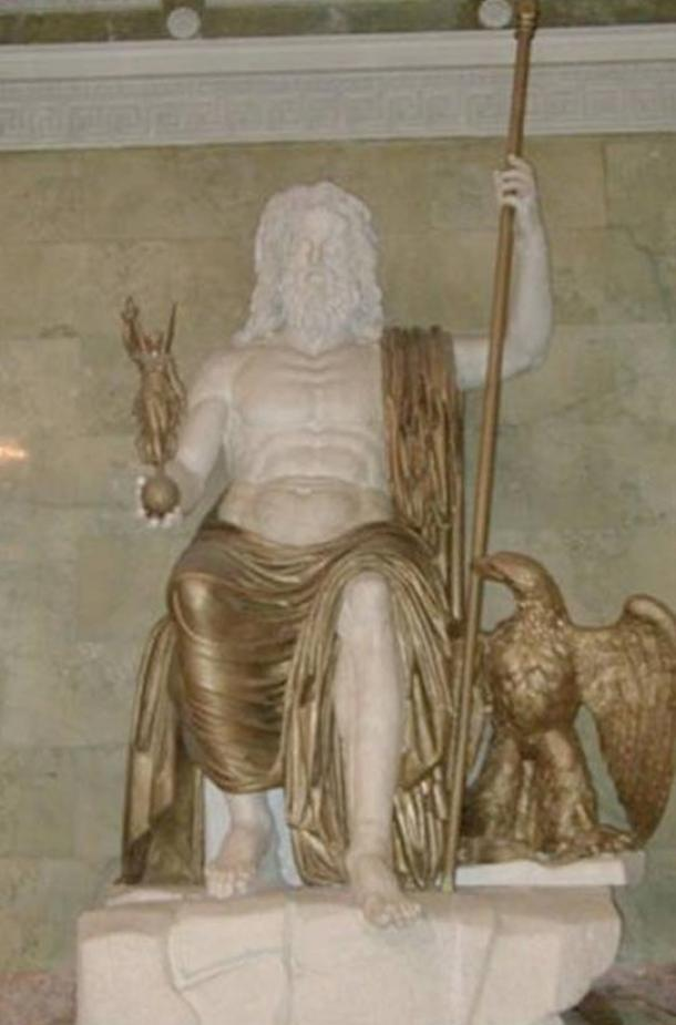 A Roman Seated Zeus, marble and bronze (restored), following the type established by Phidias and what he should have looked like at the Temple at Olympia.