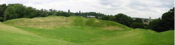 The Roman amphitheater at Cirencester in Gloucestershire, England.