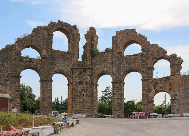 Roman aqueduct of Aspendos, Turkey.