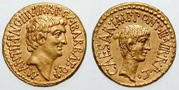 "Roman aureus with the portraits of Mark Antony (left) and Octavian (right), issued to celebrate the establishment of the Second Triumvirate by Octavian, Antony, and Marcus Lepidus in 43 BC. Both sides bear the inscription ""III VIR R P C"", meaning ""One of Three Men for the Regulation of the Republic."""