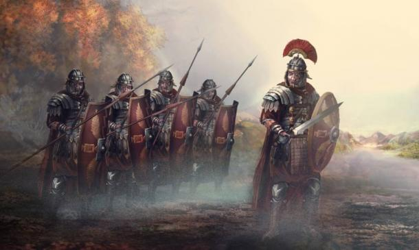 A Roman centurion leading his men into battle