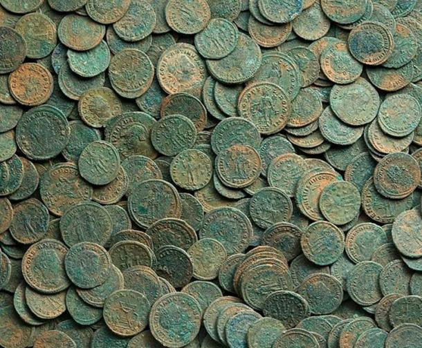 A Roman coin hoard.