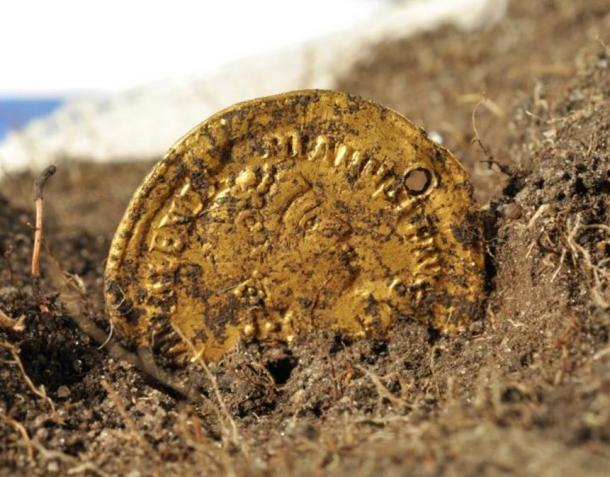 A Roman coin found at the site of Sandby Borg, whose inhabitants probably included a number of unemployed Roman soldiers.