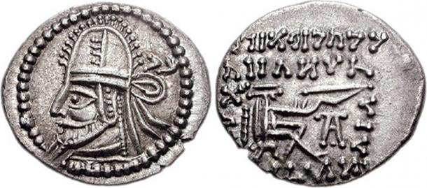 Coin of the Parthian king Artabanus IV.