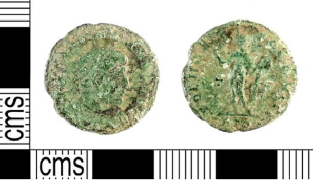 A Roman coin similar to the one described as found at the Knowe of Swandro on Rousay
