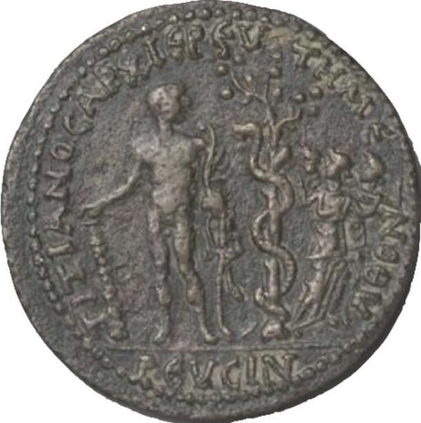 Roman coin from the 3rd century AD. Hercules, the serpent-entwined apple tree, and three Hesperides. (Author provided)