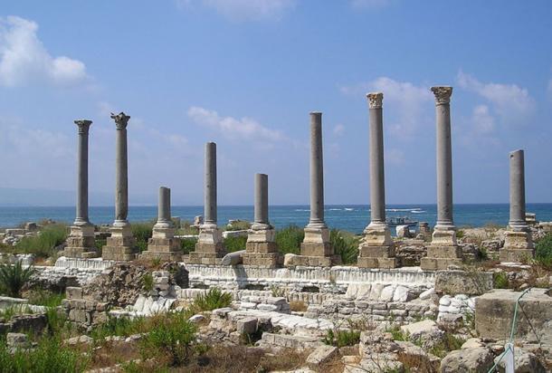 Roman columns at the Al Mina excavation site.