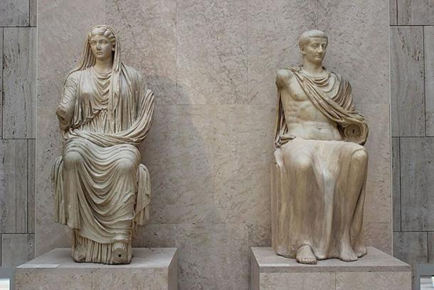 Roman emperor Tiberius and his mother Livia, AD 14-19, from Paestum, National Archaeological Museum of Spain, Madrid. (Miguel Hermoso Cuesta/CC BY SA 4.0)