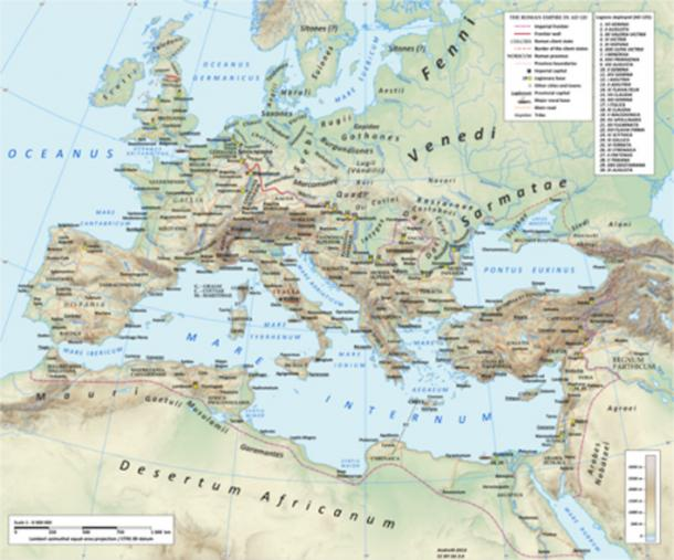 The Roman empire in the time of Hadrian (ruled 117–138), showing the network of main Roman roads.