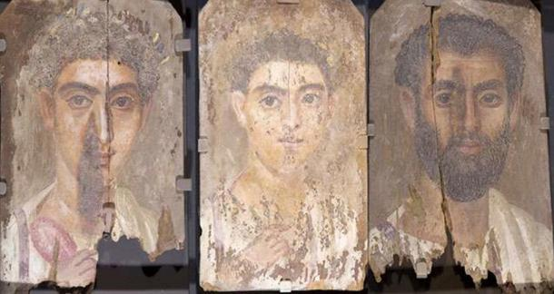 Roman-era Egyptian mummy portraits from the site of Tebtunis, Egypt, with no apparent blue color, but under testing, researchers found the synthetic pigment Egyptian blue present in all three paintings. Credit: Phoebe A. Hearst Museum of Anthropology, University of California, Berkeley.