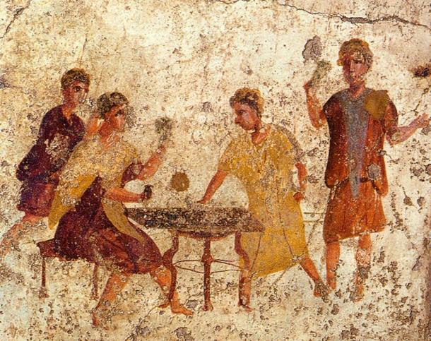 Roman fresco of dice players from the Osteria della Via di Mercurio in Pompeii.