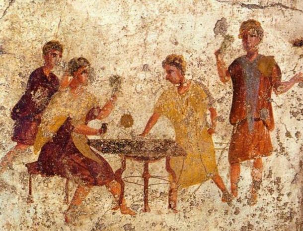Roman fresco of dice players from the Osteria della Via di Mercurio in Pompeii.