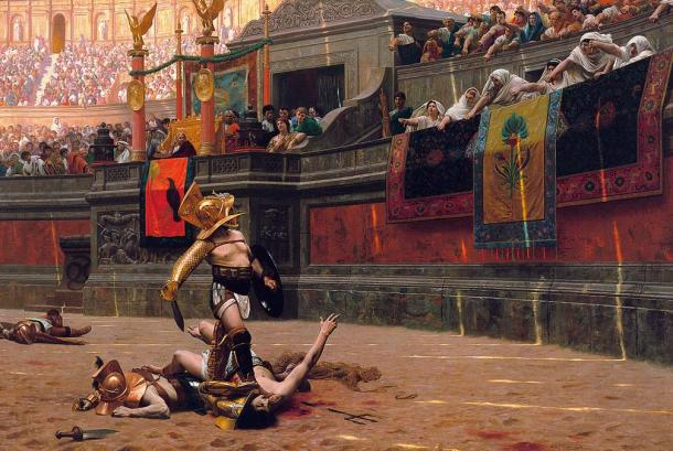 Jean-Leon Gerome painted this scene of a Roman gladiator with his foot on the neck of a victim. The crowd is pointing their thumbs down, which indicates they want the gladiator to kill the man.