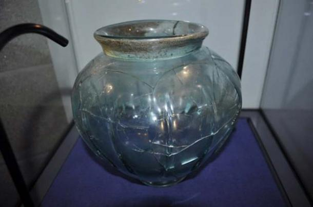 A Roman glass bowl.