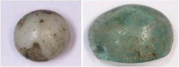 Roman glass recycled and reused as a gaming pieces was among the finds at the hillfort site. (AOC Archaeology Ltd / Perth and Kinross Heritage Trust)