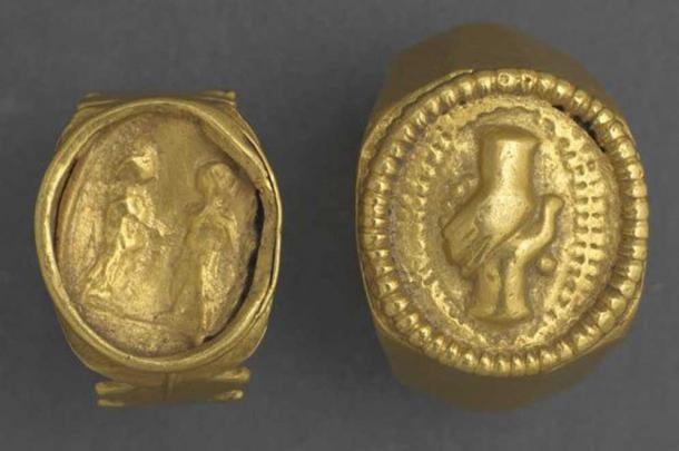 Roman gold fede rings from the 2nd or 3rd century. The clasped hands design was popular for Roman wedding rings.
