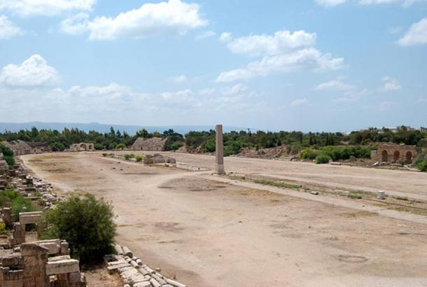 Ruins of a Roman hippodrome in Tyre, Lebanon.