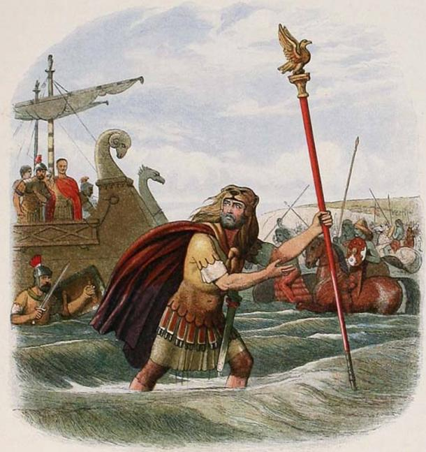 The Roman invasion of Britain: 'The Standard-Bearer of the Tenth Legion': a portrayal of the Roman Tenth Legion's landing at England in 55 BC.