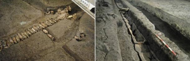 Roman jars reused to make water conduits
