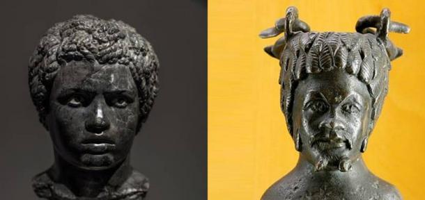 Roman marble portrait bust of a young African man, 1st half of the 2nd century AD. (Dan Diffendale/CC BY NC SA 2.0) Vase in the shape of the bust of an African. Bronze, Roman artwork, 2nd century AD. (Marie-Lan Nguyen/CC BY 3.0)