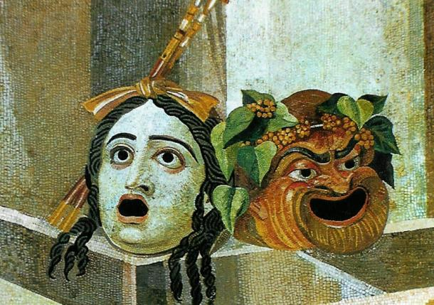 Roman masks depicted in mosaic