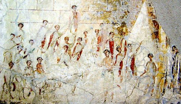 A rare painted depiction of Roman men wearing togae praetextae participating in a religious ceremony, probably the Compitalia; note the dark red color of their toga borders. Fresco on a building outside Pompeii.