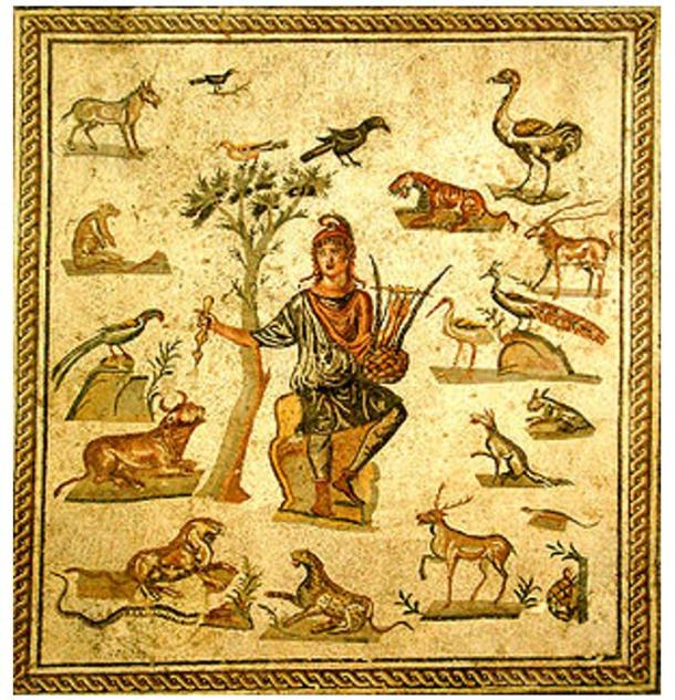 Roman mosaic depicting Orpheus surrounded by animals.