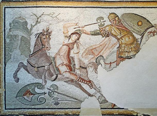 Roman mosaic from Daphne (in modern-day Turkey) showing an Amazonian warrior with a labrys in combat