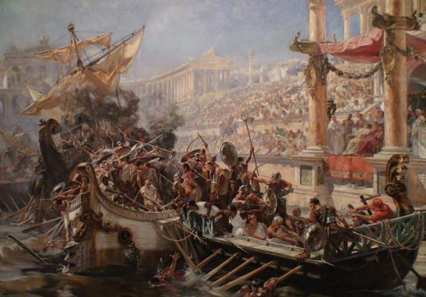 A painting depicting a Roman naumachia by Ulpiano Checa.