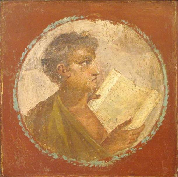 Roman portraiture fresco of a young man with a papyrus scroll, from Herculaneum, 1st century AD