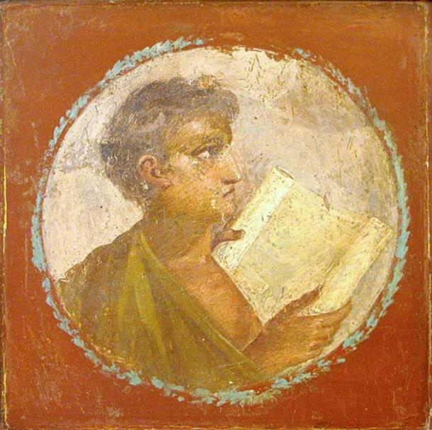 Roman portraiture fresco of a young man with a papyrus scroll, from Herculaneum, 1st century AD. (Public Domain)